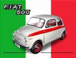 "10926 - Fiat 500 6"" x 8"" Vintage Metal Steel Advertising Sign Plaque"